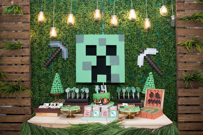 Minecraft dessert table from a Minecraft Birthday Party on Kara's Party Ideas | KarasPartyIdeas.com (11)