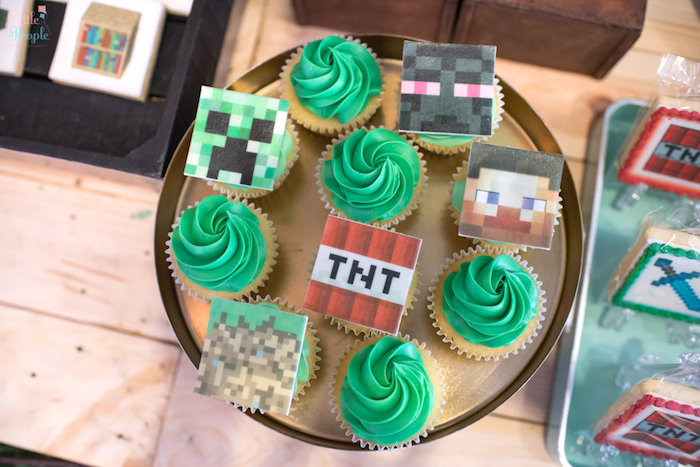 Cool Minecraft cupcakes from a Minecraft Birthday Party on Kara us Party Ideas KarasPartyIdeas