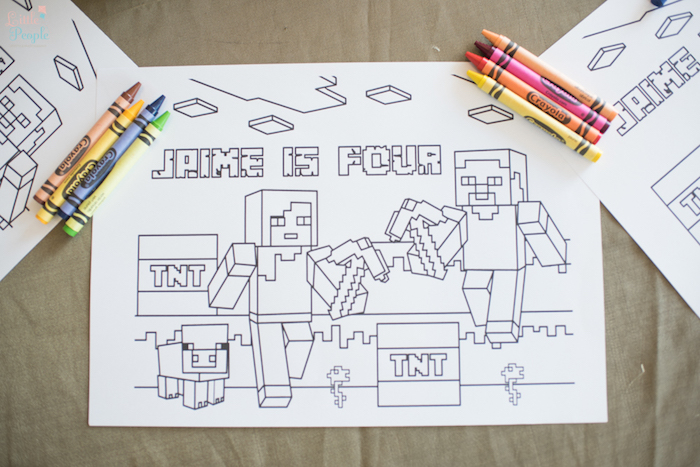 Minecraft Coloring Page From A Birthday Party On Karas Ideas