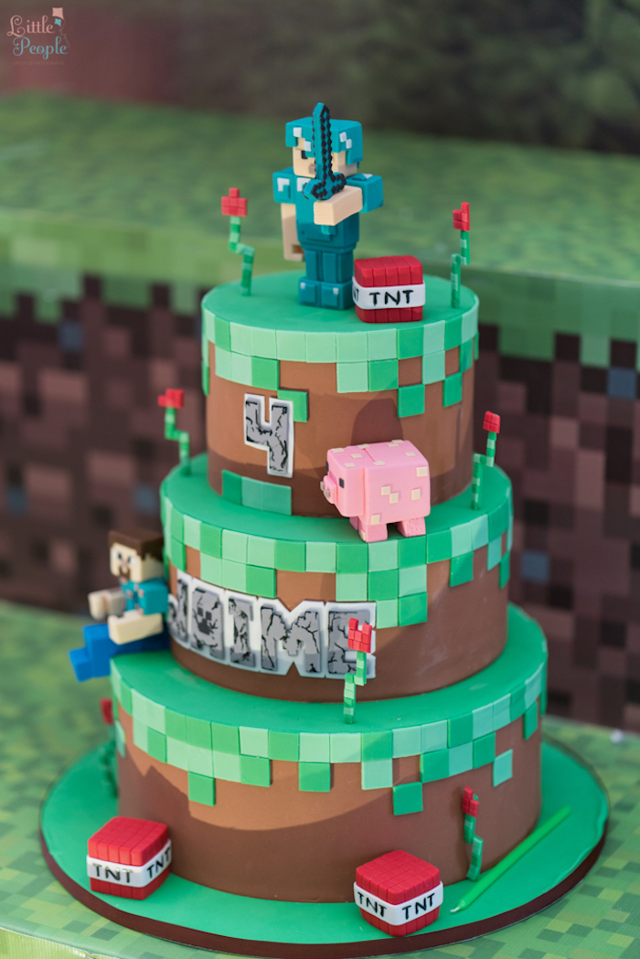 Minecraft cake from a Minecraft Birthday Party on Kara's Party Ideas | KarasPartyIdeas.com (38)