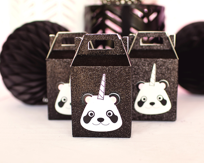 "Pandacorn gable favor boxes from a Panda + Unicorn ""Pandacorn"" Birthday Party on Kara's Party Ideas 