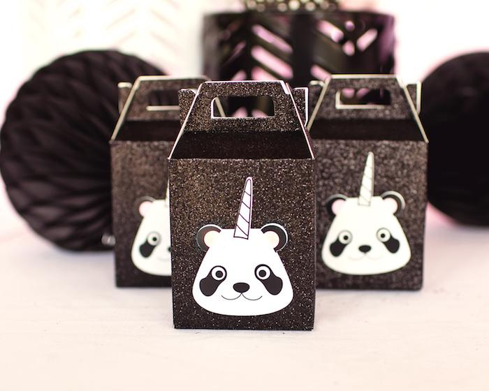 "Pandacorn gable favor boxes from a Panda + Unicorn ""Pandacorn"" Birthday Party on Kara's Party Ideas   KarasPartyIdeas.com (12)"