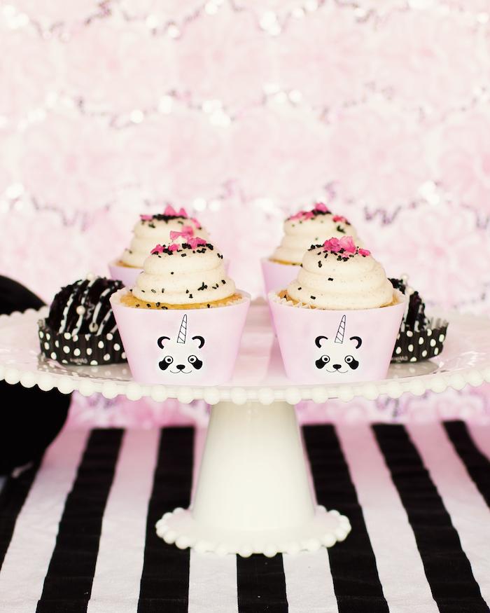 "Pandacorn cupcakes from a Panda + Unicorn ""Pandacorn"" Birthday Party on Kara's Party Ideas   KarasPartyIdeas.com (11)"