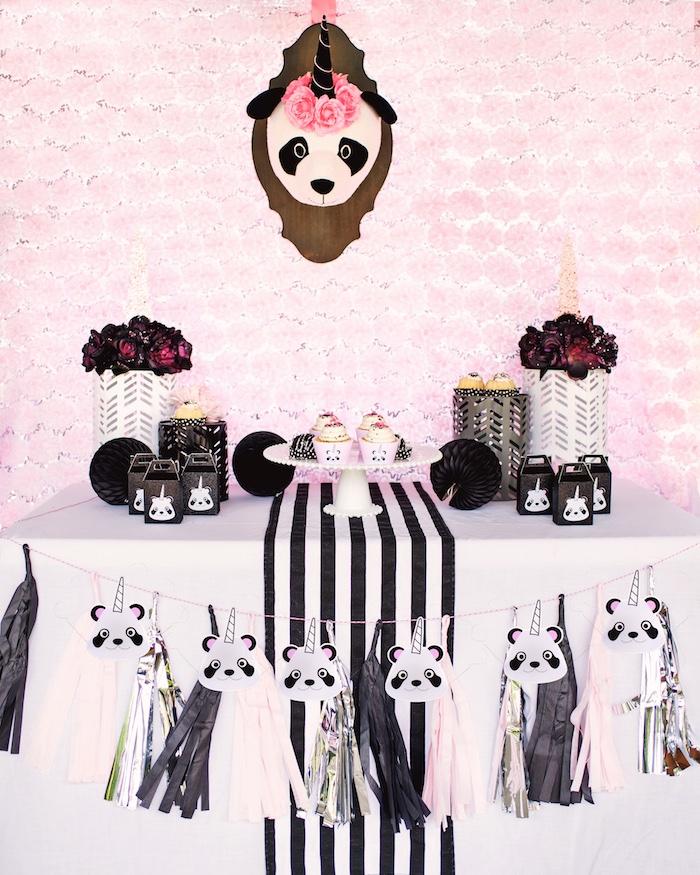 "Sweet table from a Panda + Unicorn ""Pandacorn"" Birthday Party on Kara's Party Ideas   KarasPartyIdeas.com (10)"