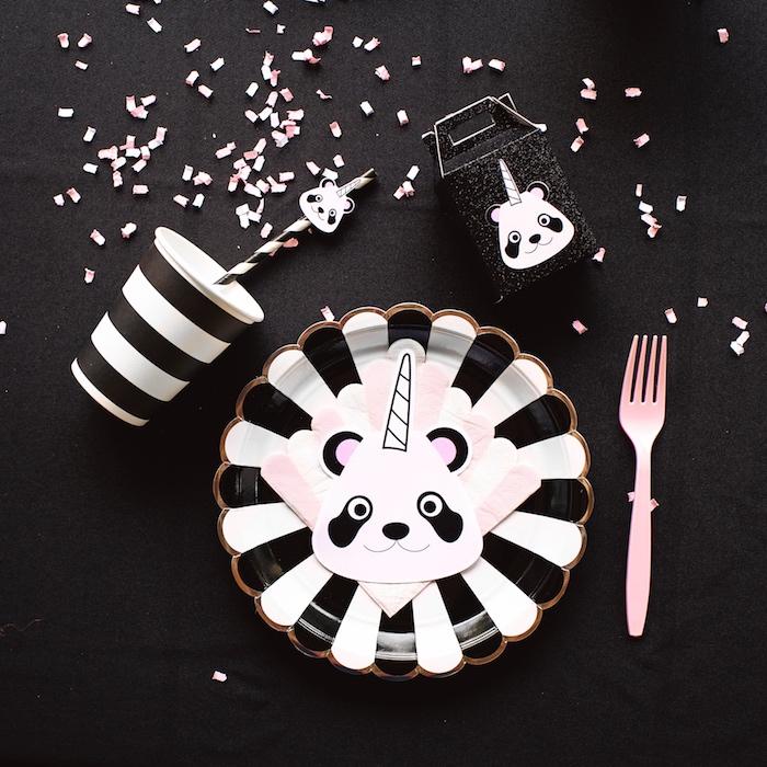 "Pandacorn place setting from a Panda + Unicorn ""Pandacorn"" Birthday Party on Kara's Party Ideas   KarasPartyIdeas.com (9)"