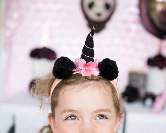 "Pandacorn headband from a Panda + Unicorn ""Pandacorn"" Birthday Party on Kara's Party Ideas 