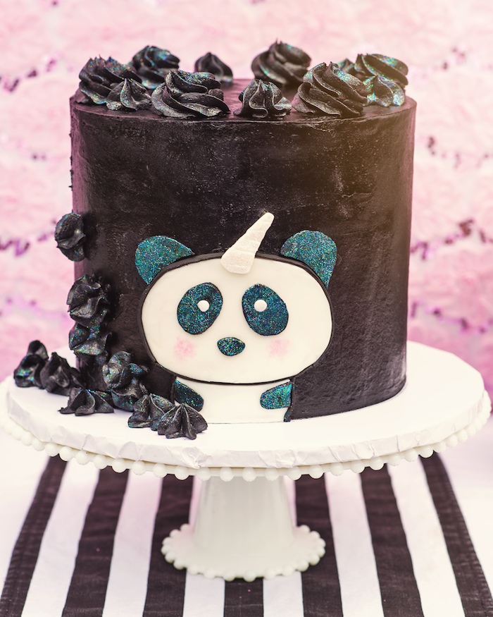 "Pandacorn cake from a Panda + Unicorn ""Pandacorn"" Birthday Party on Kara's Party Ideas 