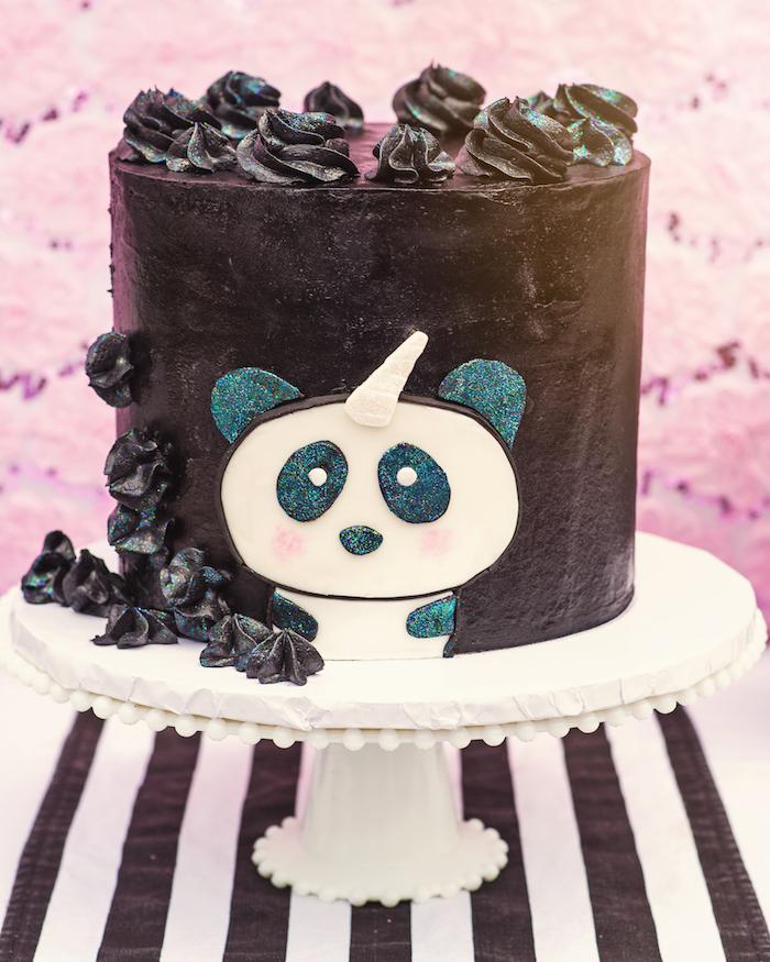"Pandacorn cake from a Panda + Unicorn ""Pandacorn"" Birthday Party on Kara's Party Ideas   KarasPartyIdeas.com (23)"