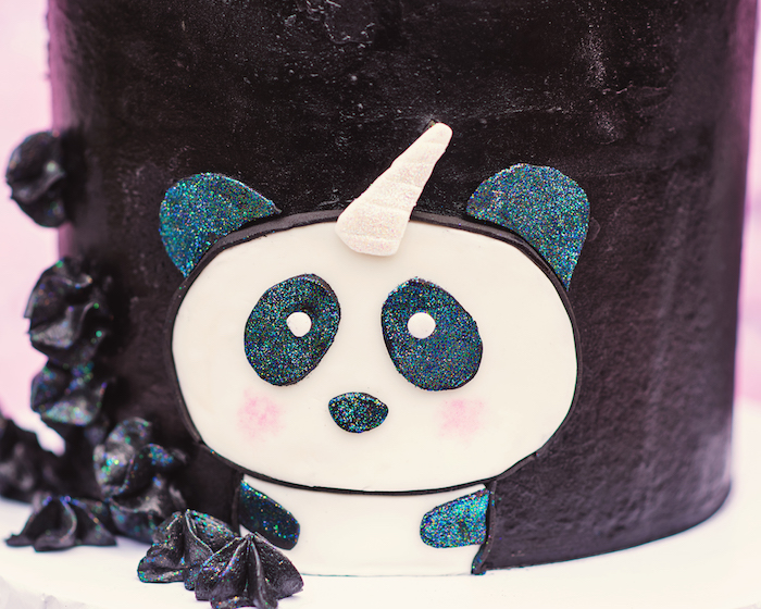 "Fondant pandacorn from a Panda + Unicorn ""Pandacorn"" Birthday Party on Kara's Party Ideas 