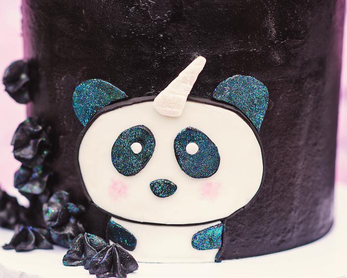 "Fondant pandacorn from a Panda + Unicorn ""Pandacorn"" Birthday Party on Kara's Party Ideas   KarasPartyIdeas.com (22)"