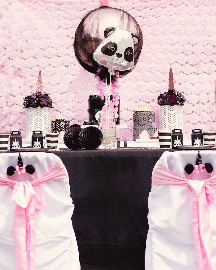"Guest table from a Panda + Unicorn ""Pandacorn"" Birthday Party on Kara's Party Ideas 