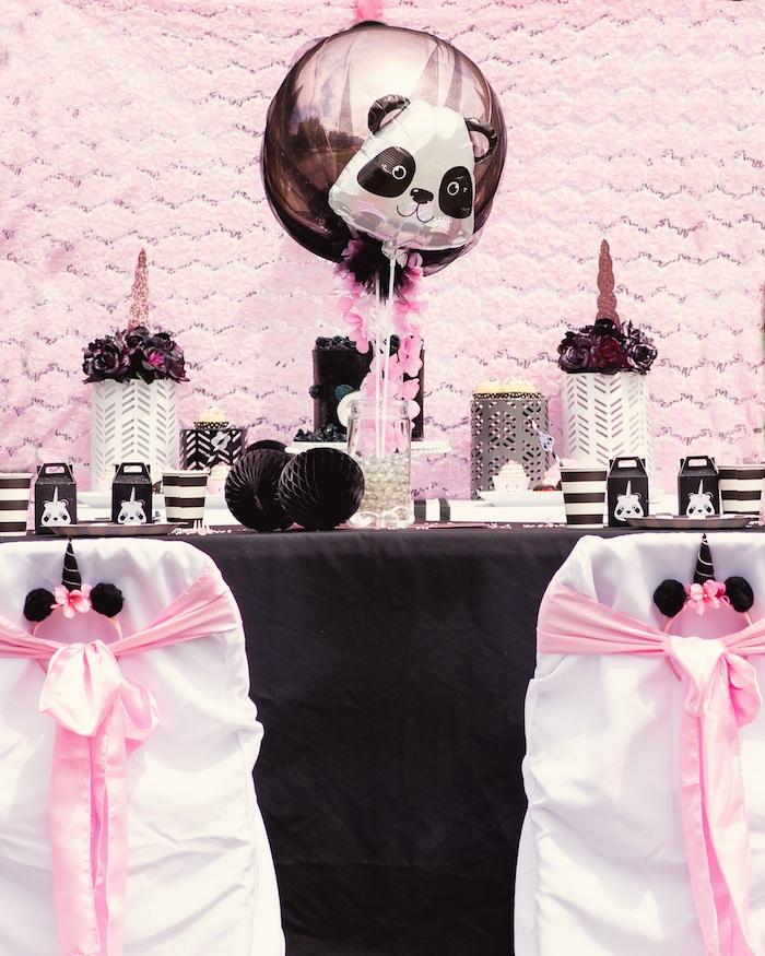 "Guest table from a Panda + Unicorn ""Pandacorn"" Birthday Party on Kara's Party Ideas   KarasPartyIdeas.com (21)"