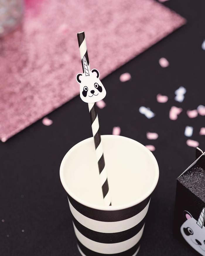 "Drink cup from a Panda + Unicorn ""Pandacorn"" Birthday Party on Kara's Party Ideas   KarasPartyIdeas.com (18)"