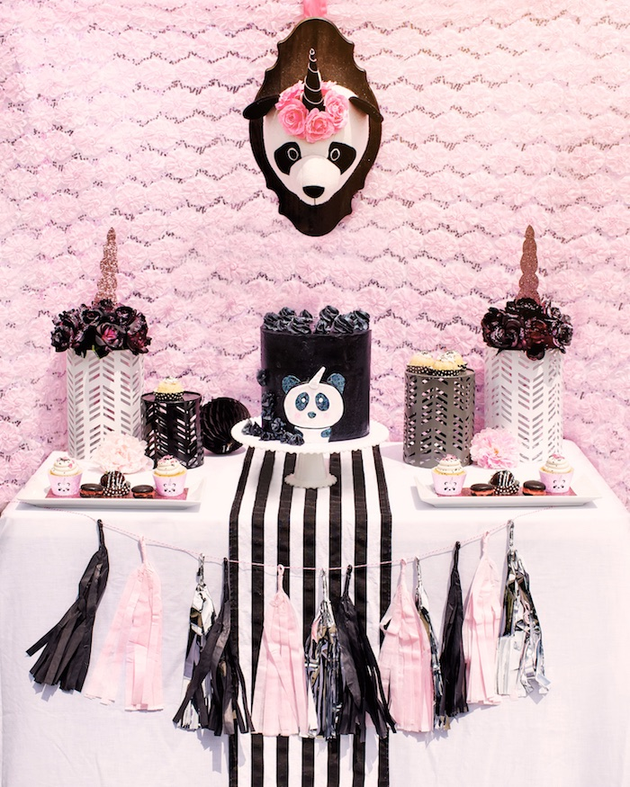 "Cake table from a Panda + Unicorn ""Pandacorn"" Birthday Party on Kara's Party Ideas 