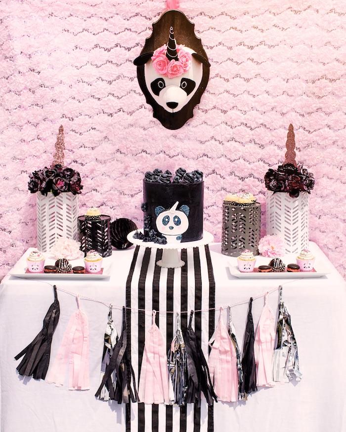 "Cake table from a Panda + Unicorn ""Pandacorn"" Birthday Party on Kara's Party Ideas   KarasPartyIdeas.com (16)"