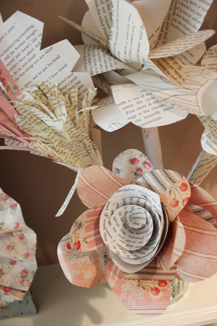 Paper Flowers from a Librarian Book Themed Retirement Party on Kara's Party Ideas | KarasPartyIdeas.com
