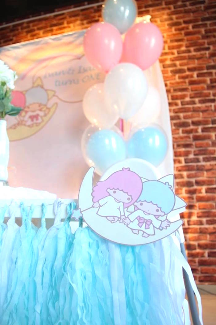 Highchair from a Pastel Little Star Birthday Party on Kara's Party Ideas | KarasPartyIdeas.com (11)