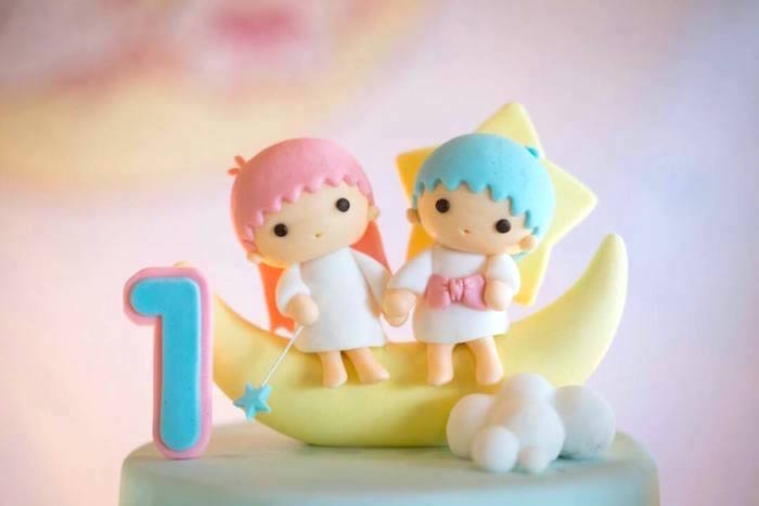 Moon and star cake topper from a Pastel Little Star Birthday Party on Kara's Party Ideas | KarasPartyIdeas.com (17)