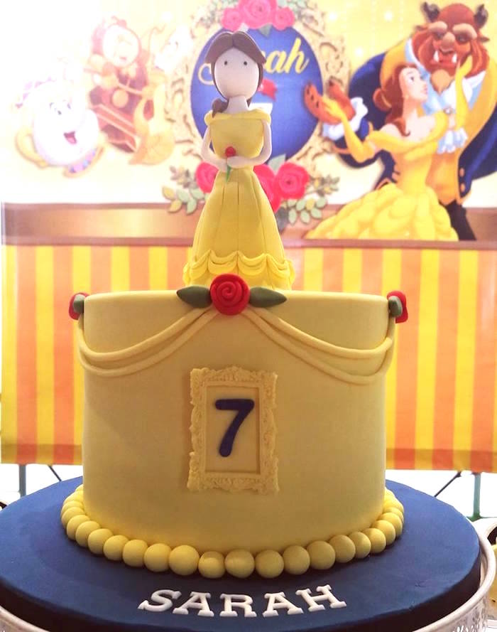 Karas Party Ideas Belle Birthday Cake from a Royal Beauty and the