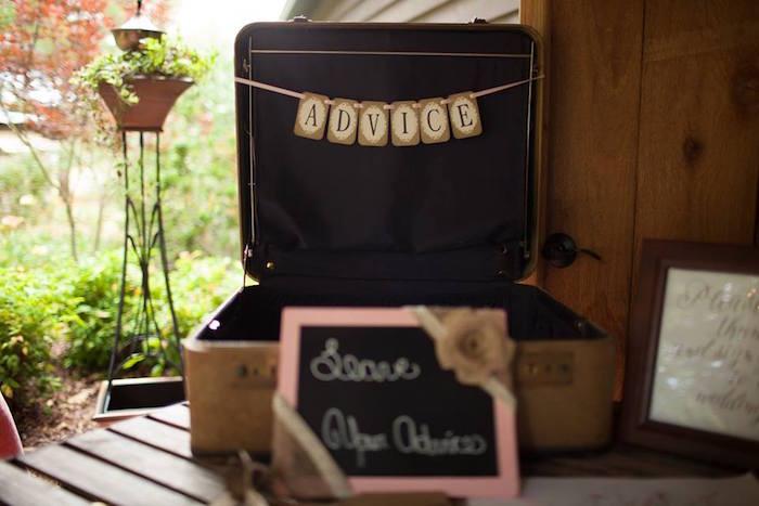 Advice suitcase from a Rustic Blush Barn Wedding on Kara's Party Ideas | KarasPartyIdeas.com (15)