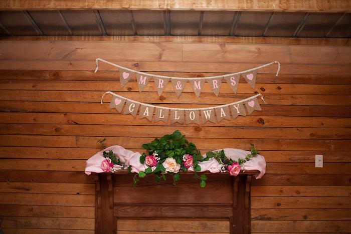 Party table + bunting from a Rustic Blush Barn Wedding on Kara's Party Ideas | KarasPartyIdeas.com (33)