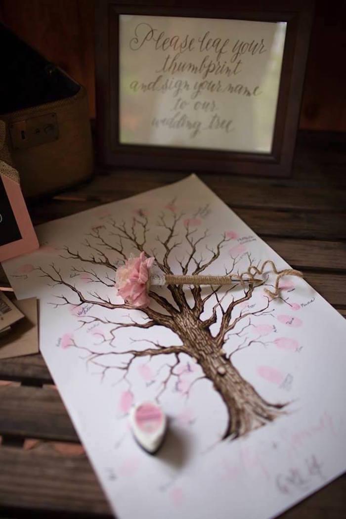 Fingerprint guest tree from a Rustic Blush Barn Wedding on Kara's Party Ideas | KarasPartyIdeas.com (13)