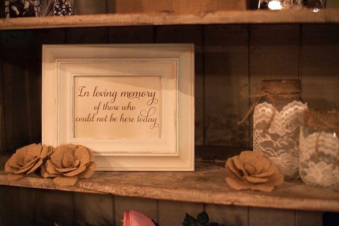 """In Memory"" party signage from a Rustic Blush Barn Wedding on Kara's Party Ideas 