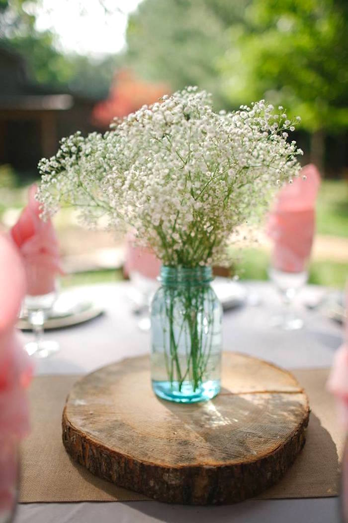 Guest table blooms from a Rustic Blush Barn Wedding on Kara's Party Ideas | KarasPartyIdeas.com (10)
