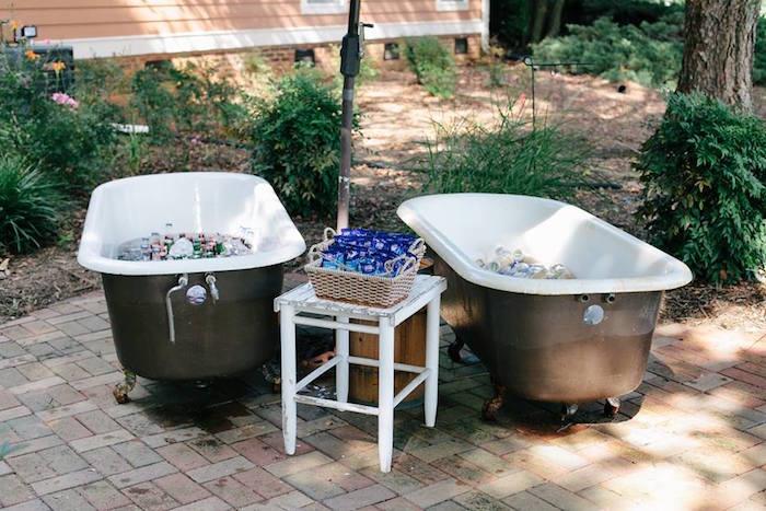 Claw tub, drink pales from a Rustic Blush Barn Wedding on Kara's Party Ideas | KarasPartyIdeas.com (8)