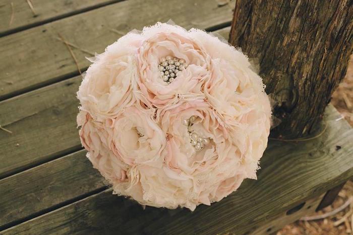 Fabric flower bouquet from a Rustic Blush Barn Wedding on Kara's Party Ideas | KarasPartyIdeas.com (6)