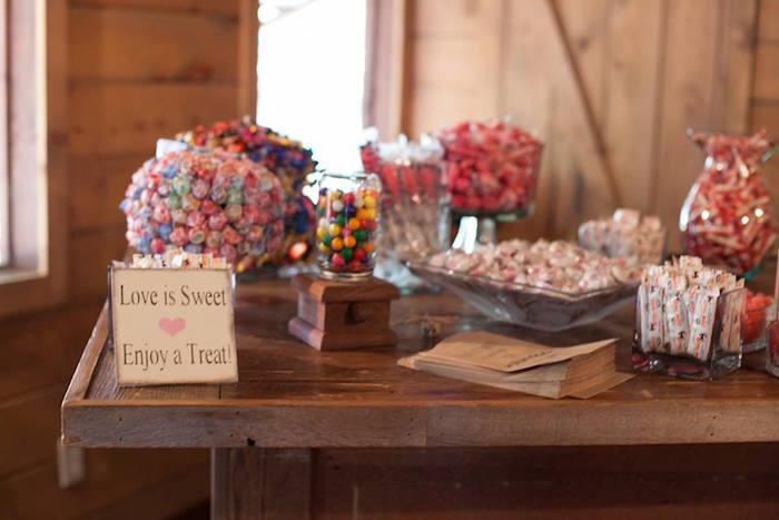 Sweet buffet from a Rustic Blush Barn Wedding on Kara's Party Ideas | KarasPartyIdeas.com (29)