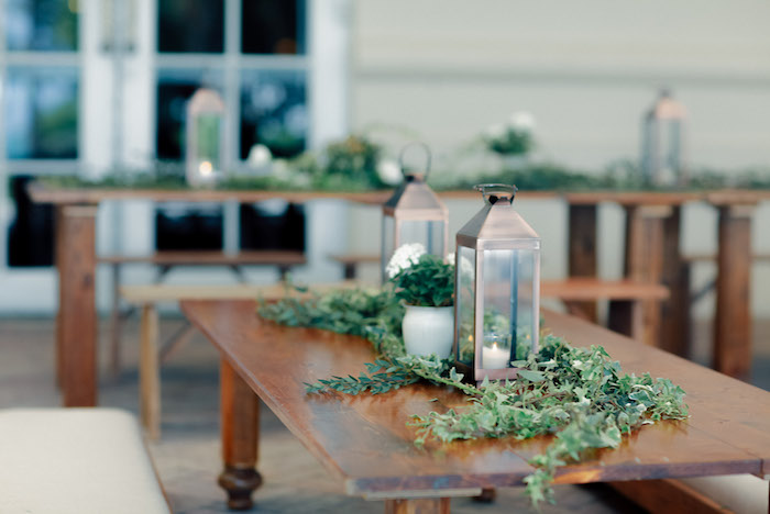 Lantern and greenery guest table from a Rustic Elegance Baptism Party on Kara's Party Ideas | KarasPartyIdeas.com (28)