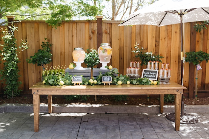 Beverage Table From A Rustic Lemon Themed Baby Shower On Karas Party Ideas