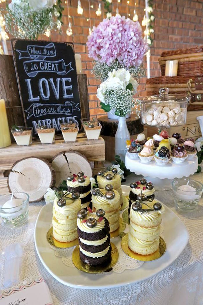 Desserts & decor from a Rustic Romantic Wedding on Kara's Party Ideas | KarasPartyIdeas.com (14)