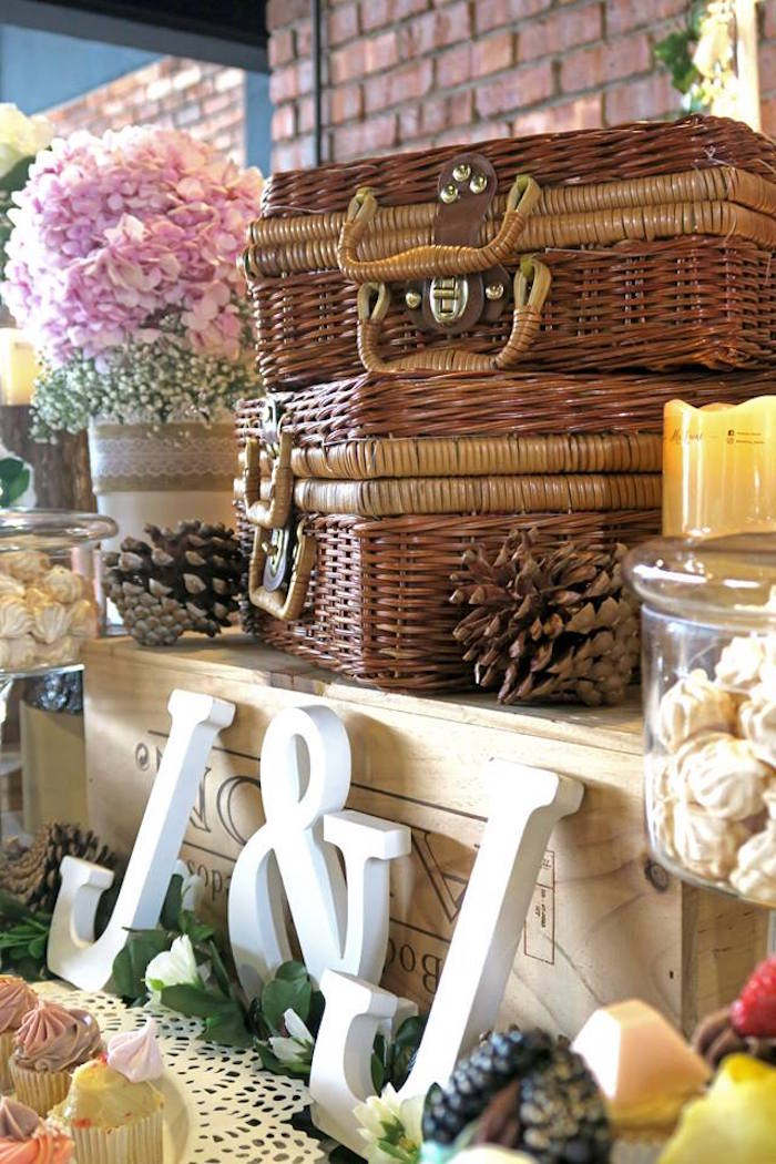 Picnic baskets and lettering from a Rustic Romantic Wedding on Kara's Party Ideas | KarasPartyIdeas.com (13)