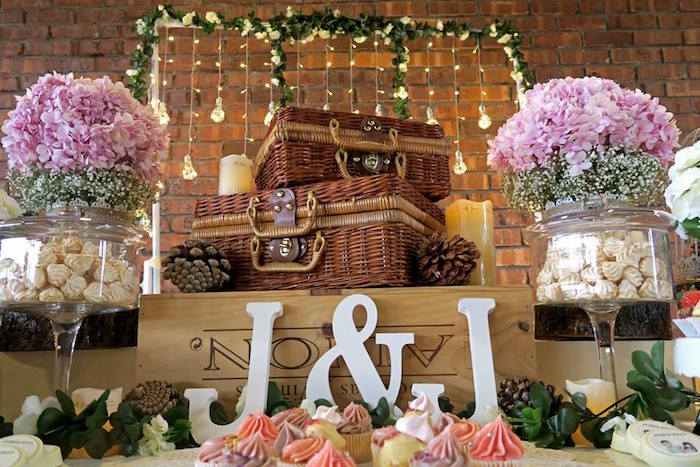Picnic baskets and lettering from a Rustic Romantic Wedding on Kara's Party Ideas | KarasPartyIdeas.com (11)