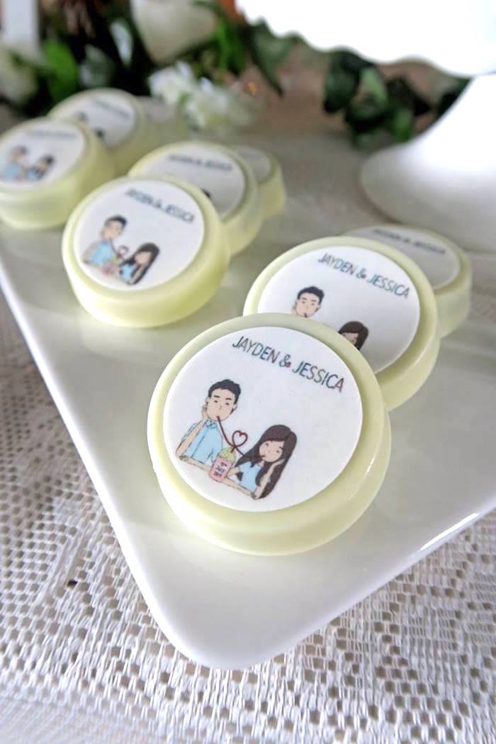 Custom chocolate covered Oreos from a Rustic Romantic Wedding on Kara's Party Ideas | KarasPartyIdeas.com (8)