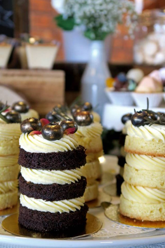 Stacked mini cakes from a Rustic Romantic Wedding on Kara's Party Ideas | KarasPartyIdeas.com (5)