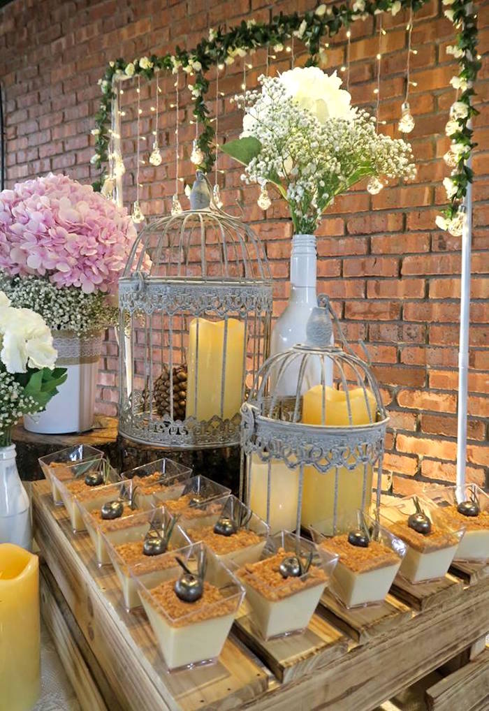 Dessert cups & decor from a Rustic Romantic Wedding on Kara's Party Ideas | KarasPartyIdeas.com (4)