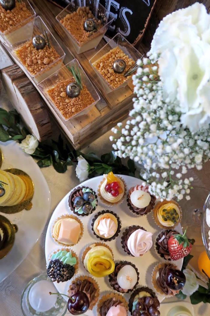 Cupcakes and dessert cups from a Rustic Romantic Wedding on Kara's Party Ideas | KarasPartyIdeas.com (22)