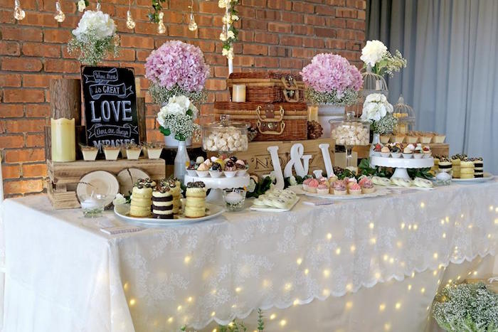 Twinkle Light Lit Sweet Table From A Rustic Romantic Wedding On Karas Party Ideas