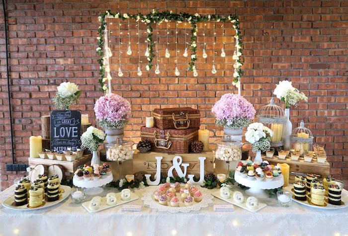 Dessert table from a Rustic Romantic Wedding on Kara's Party Ideas | KarasPartyIdeas.com (19)