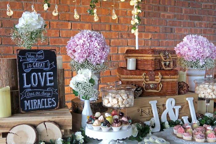 Dessert table from a Rustic Romantic Wedding on Kara's Party Ideas | KarasPartyIdeas.com (17)
