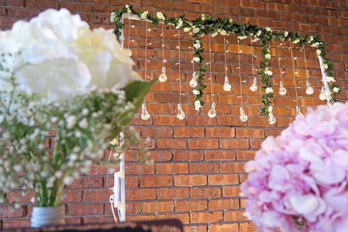 Bulb and greenery bloom backdrop from a Rustic Romantic Wedding on Kara's Party Ideas | KarasPartyIdeas.com (15)