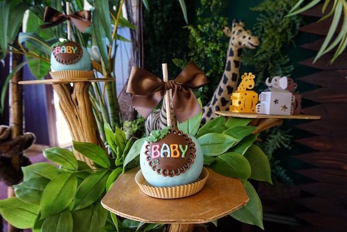 "Safari-inspired ""BABY"" gourmet apple from a Safari Animal Baby Shower on Kara's Party Ideas | KarasPartyIdeas.com (5)"