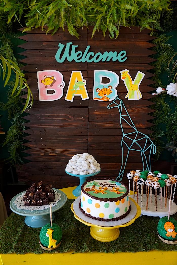 Safari themed dessert table from a Safari Animal Baby Shower on Kara's Party Ideas | KarasPartyIdeas.com (15)