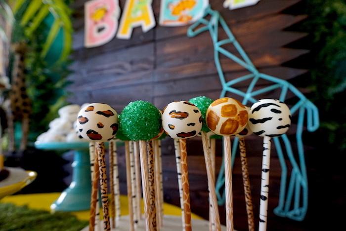 Safari cake pops from a Safari Animal Baby Shower on Kara's Party Ideas | KarasPartyIdeas.com (13)