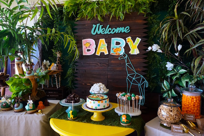 Sweet table from a Safari Animal Baby Shower on Kara's Party Ideas | KarasPartyIdeas.com (12)