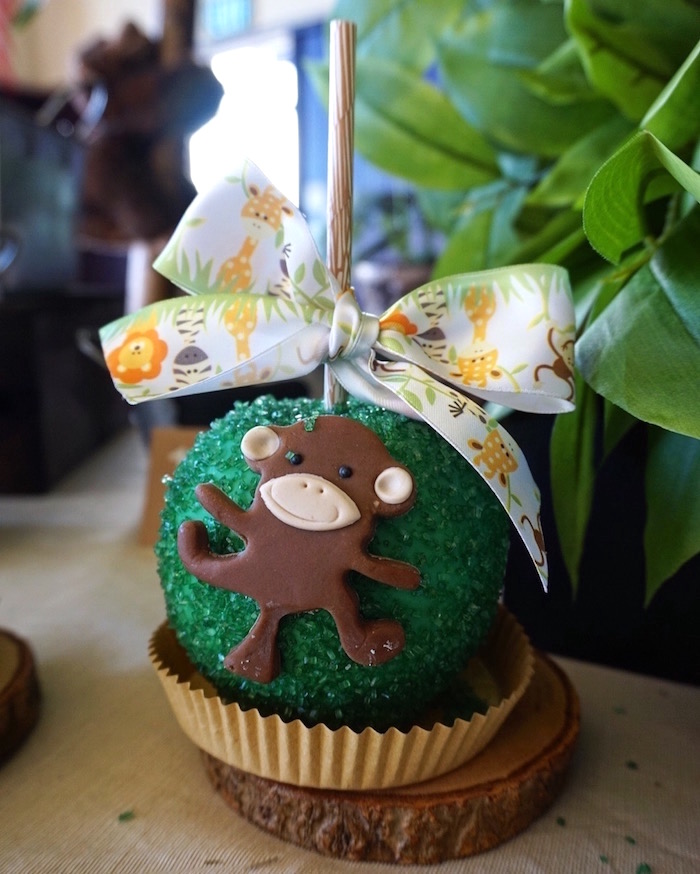 Monkey gourmet apple from a Safari Animal Baby Shower on Kara's Party Ideas | KarasPartyIdeas.com (10)