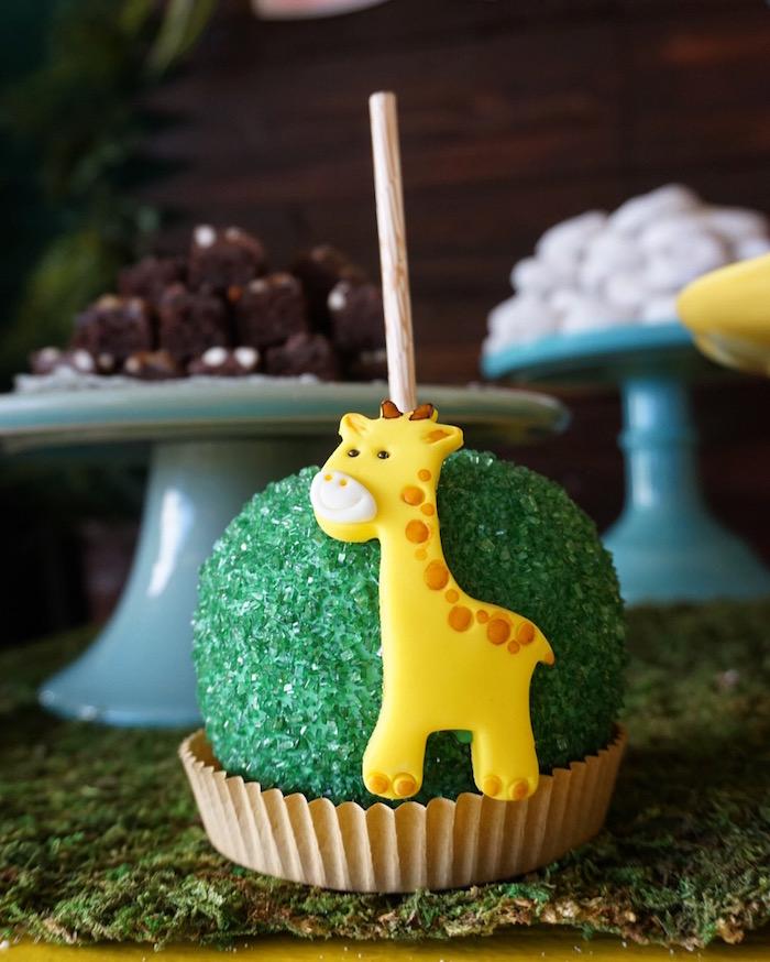 Giraffe gourmet apple from a Safari Animal Baby Shower on Kara's Party Ideas | KarasPartyIdeas.com (9)